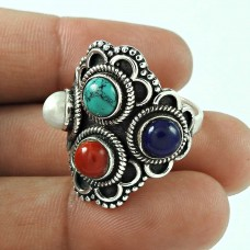 Royal Style! 925 Silver Lapis, Turquoise, Coral, Pearl Ring