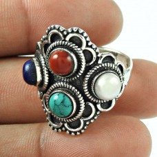 Large Stunning! 925 Silver Lapis, Turquoise, Coral, Pearl Ring Proveedor