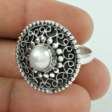 Victorian Style! 925 Silver Pearl Ring