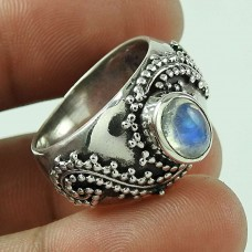 Hot Design!! 925 Silver Rainbow Moon Stone Ring