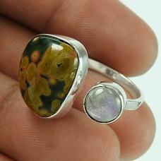 Fantastic Quality Of!! Rainbow Moonstone, Ocean Jasper 925 Sterling Silver Ring Wholesaler
