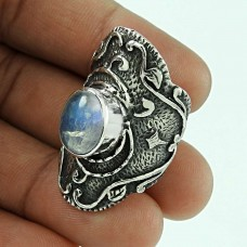 New Design! 925 Silver Rainbow Moon Stone Ring Proveedor
