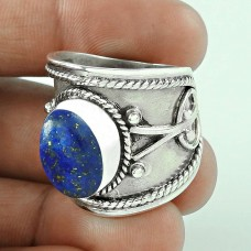 Fine!! Lapis 925 Sterling Silver Ring