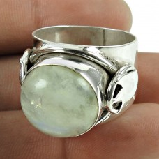 Classic 925 Sterling Silver Rainbow Moonstone Ring Jewellery