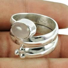 Party Wear Rose Quartz Gemstone Wrap Ring 925 Sterling Silver Jewellery