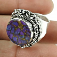 Lovely Purple Copper Turquoise Ring 925 Sterling Silver Gemstone Jewellery