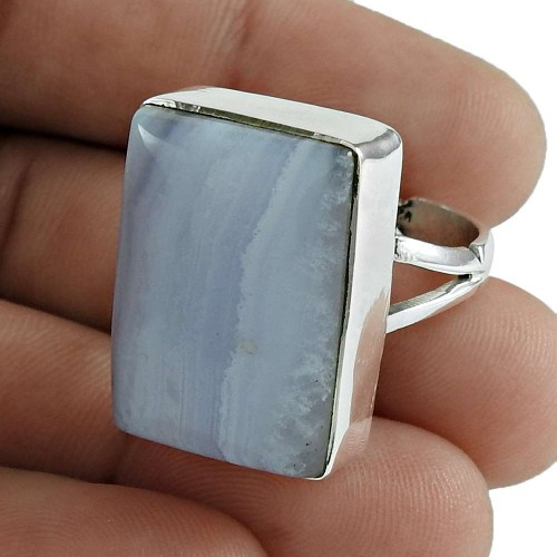 Designer 925 Sterling Silver Blue Lace Agate Gemstone Ring Traditional Jewellery