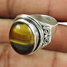 Engaging 925 Sterling Silver Tiger Eye Gemstone Ring Jewellery