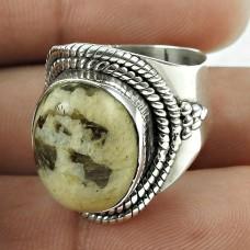 Excellent 925 Sterling Silver Peanut Wood Gemstone Ring Vintage Jewellery