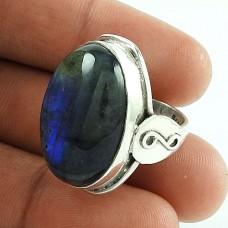 Beautiful Design!! 925 Silver Labradorite Gemstone Ring