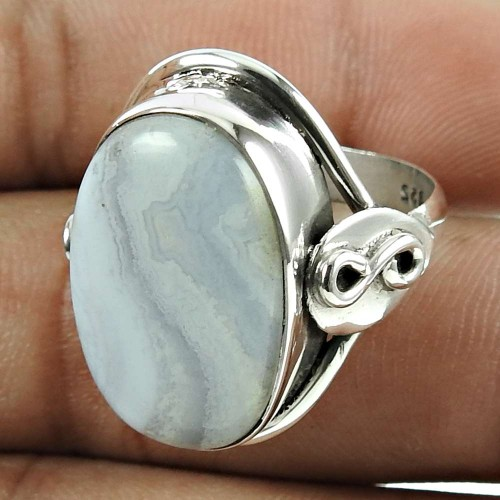 Scenic 925 Sterling Silver Blue Lace Agate Gemstone Ring Jewellery
