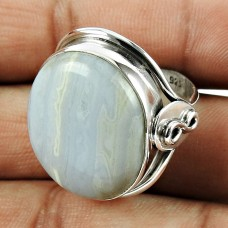 Graceful 925 Sterling Silver Blue Lace Agate Gemstone Ring Jewelry