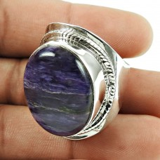 Rare 925 Sterling Silver Charoite Gemstone Ring Ethnic Jewellery