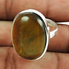 Dainty 925 Sterling Silver Tiger Eye Gemstone Ring Vintage Jewellery