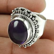 Daily Wear 925 Sterling Silver Amethyst Gemstone Ring Jewellery