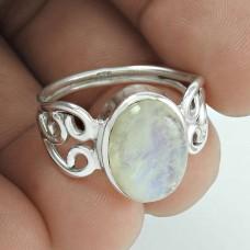 Charming 925 Sterling Silver Vintage Rainbow Moonstone Ring Jewellery