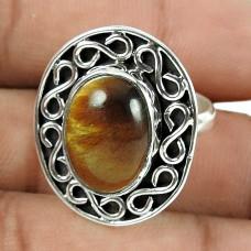 Pleasing Tiger Eye Gemstone 925 Sterling Silver Ring Jewellery