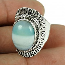 Fashion 925 Sterling Silver Antique Striped Onyx Gemstone Ring Jewellery
