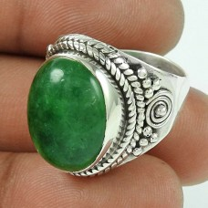 925 Sterling Silver Vintage Jewellery Ethnic Green Aventurine Gemstone Ring Supplier India