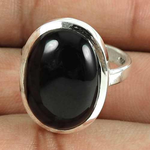 Good-Looking 925 Sterling Silver Black Onyx Gemstone Ring Antique Jewellery