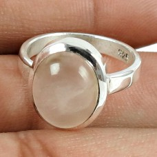Beautiful 925 Sterling Silver Rose Quartz Gemstone Ring Jewellery