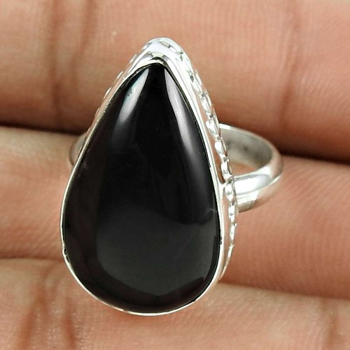 Lovely 925 Sterling Silver Black Onyx Gemstone Ring Vintage Jewellery