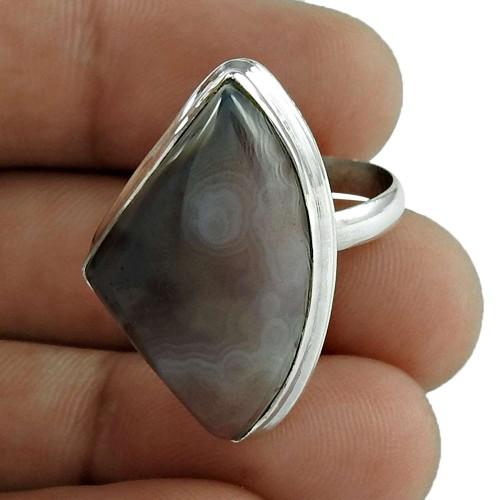 Stylish 925 Sterling Silver Botswana Agate Gemstone Ring Jewellery