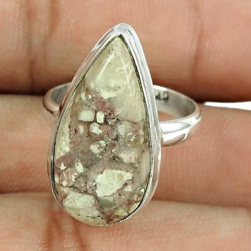 Dainty 925 Sterling Silver Brush Agate Gemstone Ring Vintage Jewellery