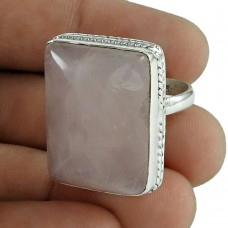 Well-Favoured 925 Sterling Silver Rose Quartz Gemstone Ring Jewellery