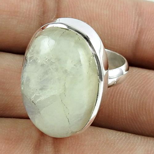 Party Wear 925 Sterling Silver Rainbow Moonstone Gemstone Ring Ethnic Jewellery