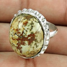 Lustrous 925 Sterling Silver Picture Jasper Gemstone Ring Ethnic Jewellery