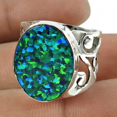 Charming 925 Sterling Silver Opal Gemstone Ring Vintage Jewellery