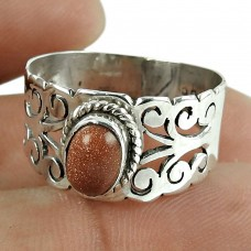 Personable Red Sunstone Gemstone Ring 925 Sterling Silver Jewellery