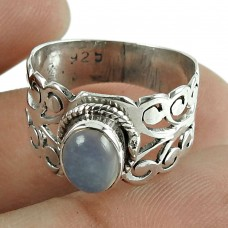 Classic Chalcedony Gemstone 925 Sterling Silver Ring Jewellery