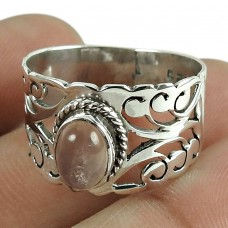 Beautiful Rose Quartz Gemstone 925 Sterling Silver Filigree Ring Jewellery Wholesaling
