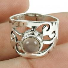 Charming Rose Quartz Gemstone 925 Sterling Silver Vintage Ring Al por mayor