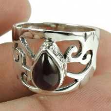 Natural Red Garnet Gemstone Ring 925 Sterling Silver Ethnic Jewellery