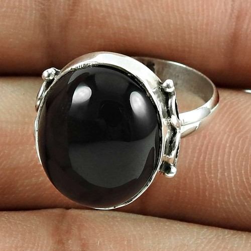 Party Wear 925 Sterling Silver Black Onyx Gemstone Ring Ethnic Jewellery