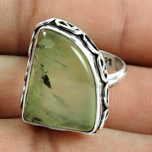 Graceful 925 Sterling Silver Prehnite Gemstone Ring Jewellery