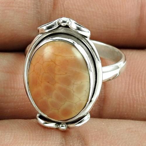 Lustrous 925 Sterling Silver Jasper Gemstone Ring Ethnic Jewellery