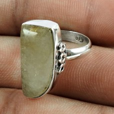 Dainty 925 Sterling Silver Golden Rutile Gemstone Ring Vintage Jewelry