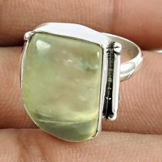 Beautiful 925 Sterling Silver Prehnite Gemstone Ring Jewellery