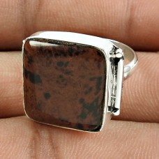 Daily Wear 925 Sterling Silver Mahogany Obsidian Gemstone Ring Jewellery