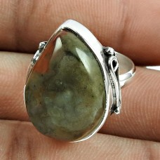 Charming 925 Sterling Silver Green Jasper Gemstone Ring Vintage Jewellery