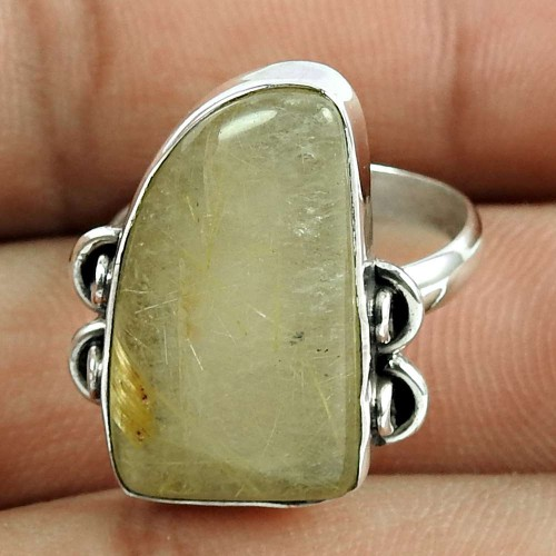 Dainty 925 Sterling Silver Golden Rutile Gemstone Ring Vintage Jewellery