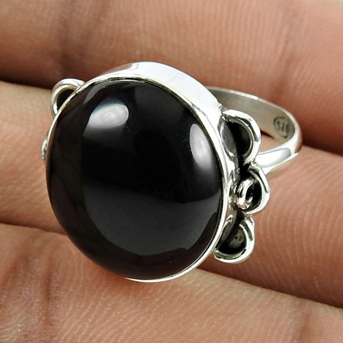Pleasing 925 Sterling Silver Black Onyx Gemstone Ring Jewellery