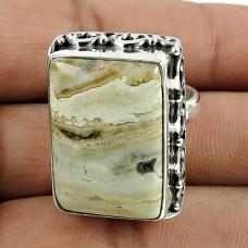 Seemly 925 Sterling Silver Ocean Jasper Gemstone Ring Jewellery