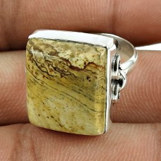 Well-Favoured 925 Sterling Silver Picture Jasper Gemstone Ring Jewellery