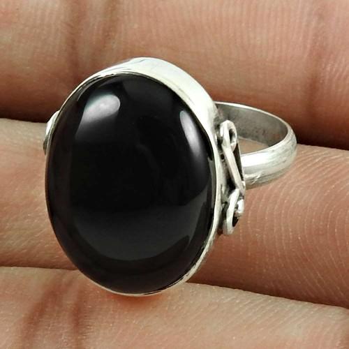 Pretty 925 Sterling Silver Black Onyx Gemstone Ring Jewellery