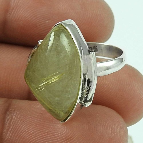 Sterling Silver Fashion Jewellery Designer Golden Rutile Gemstone Ring